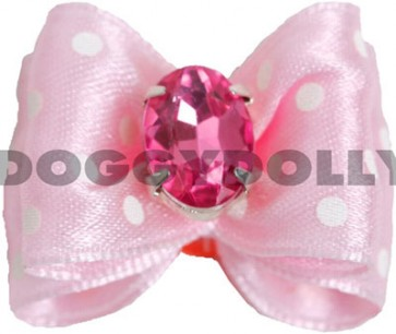 Lazo para perros rosa a topos