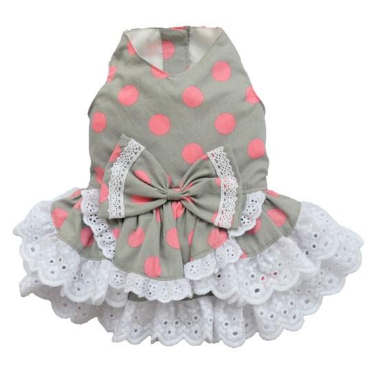Vestidos De Baño Busto Pequeno:Inicio / MODA PARA ELLA / Vestidos / Vestido Gris y Topos Rosas