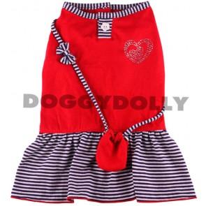 Vestido rojo marinero con bolso